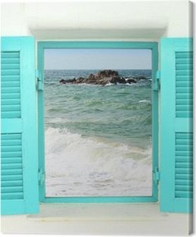 Canvas premium Griekse stijl venster met uitzicht op zee