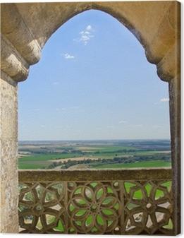 Canvas premium Landschap door kasteel gotische venster, Spanje