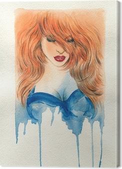 Canvas premium Mooie vrouw. aquarel illustratie