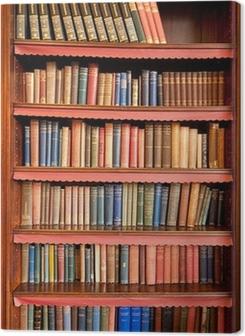 Canvas premium Oude boekenplank met rijen van boeken in oude bibliotheek
