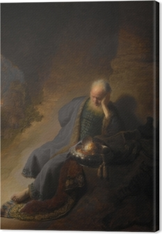 Canvas premium Rembrandt van Rijn - Jeremia treurend over de verwoesting van Jeruzalem