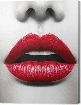 Canvas premium Sexy Lippen. Conceptuele Beeld met Vivid Red Open Mond