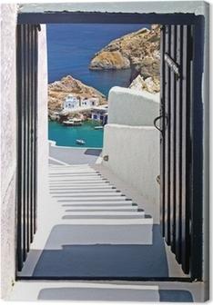 Canvas premium Traditionele architectuur van het dorp Oia op Santorini eiland, Gre