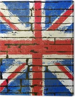 Canvas premium Union Jack op een bakstenen muur achtergrond