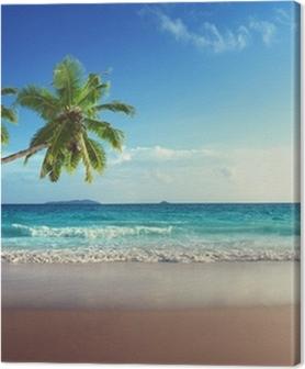 Canvas premium Zonsondergang op het strand van de Seychellen