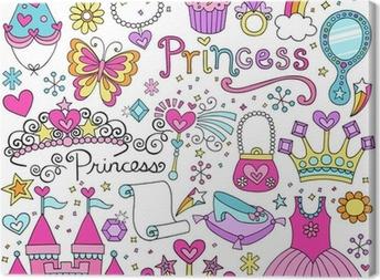 Canvas Prinses Sprookje Tiara Notebook Doodles Vector Set