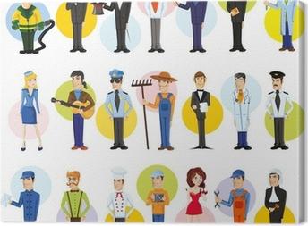 Герои мультфильмов разных профессий Canvas Print