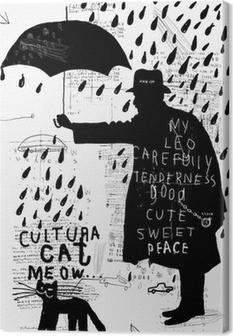 Мужчина с зонтиком Canvas Print
