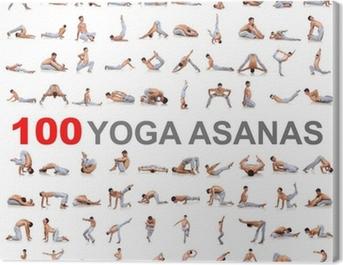 100 yoga poses on white background Canvas Print
