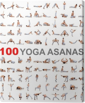 100 yoga poses on white background Canvas Print