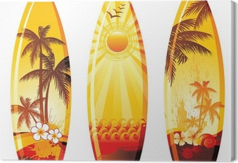 3 surf boards Canvas Print
