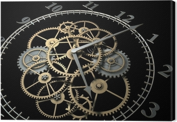 3d Clock with Cogs on Dark Background Canvas Print