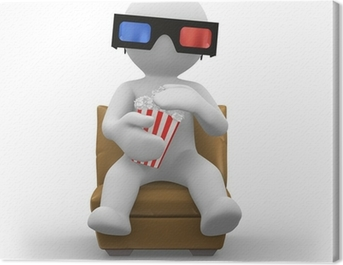 3d glasses with popcorn Canvas Print
