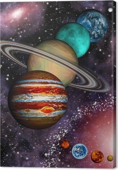 9 planets of the Solar System, asteroid belt and spiral galaxy. Canvas Print