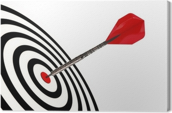 A dart arrow hits its target isolated with clipping path Canvas Print