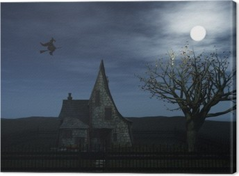 A spooky witch house and a witch flying towards the full moon. Canvas Print