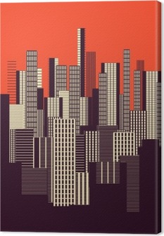 a three colors graphical abstract urban landscape poster in orange, and brown Canvas Print