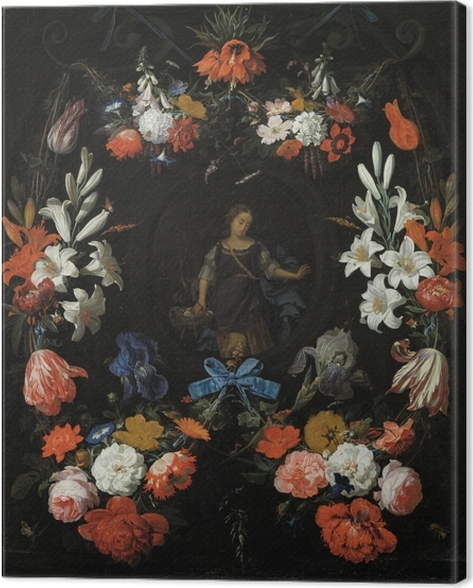Abraham Mignon - Garland of Flowers Canvas Print - Reproductions