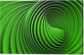 Abstract 3d spiral or twirl in green toned Canvas Print