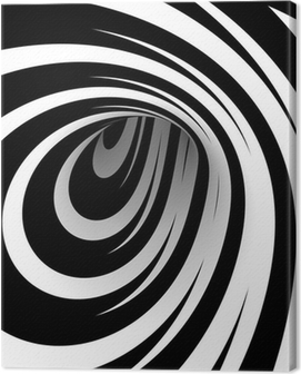 Abstract black and white spiral Canvas Print