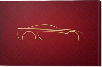 Abstract calligraphic car logo on red background Canvas Print