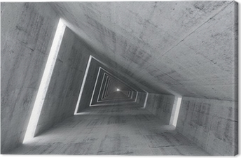 Abstract empty concrete interior, 3d render of pitched tunnel Canvas Print