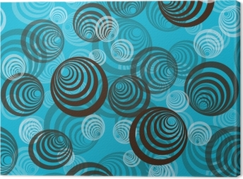 Abstract pattern with circles on blue background Canvas Print