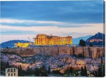 Acropolis in the evening after sunset Canvas Print