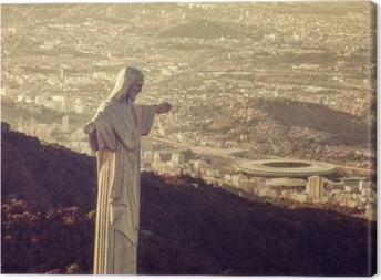 Aerial view of Christ Statue looking at Maracana Stadium Canvas Print