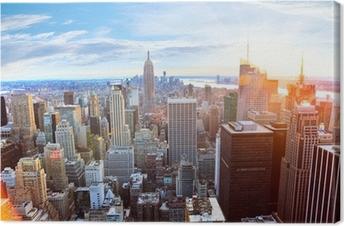 Aerial view of Manhattan skyline at sunset, New York City Canvas Print