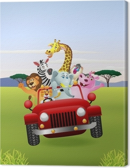 African Animals In Red Car Canvas Print