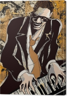 afro american jazz pianist Canvas Print
