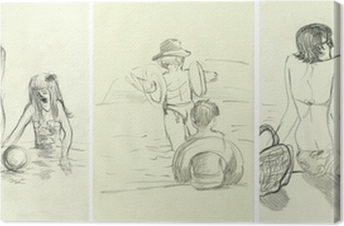 afternoon at the swimming pool an hand drawn illustrations wall