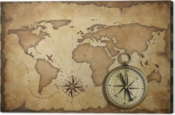 aged brass antique nautical compass and old map with track on it canvas print