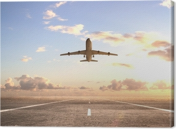 airplane on runway Canvas Print
