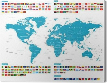 3d embossed countries borders worldmap canvas print pixers we all flags and world map murena vector collection of world flags and map gumiabroncs Gallery