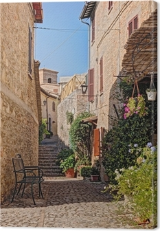 alley with flowers of a small town in Umbria, Italy Canvas Print