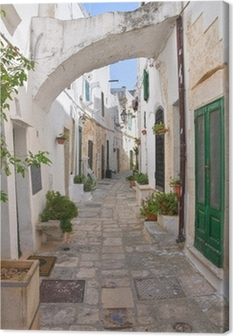 Alleyway. Ostuni. Puglia. Italy. Canvas Print