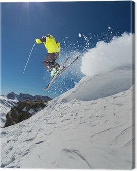 Alpine skier jumping from hill Canvas Print