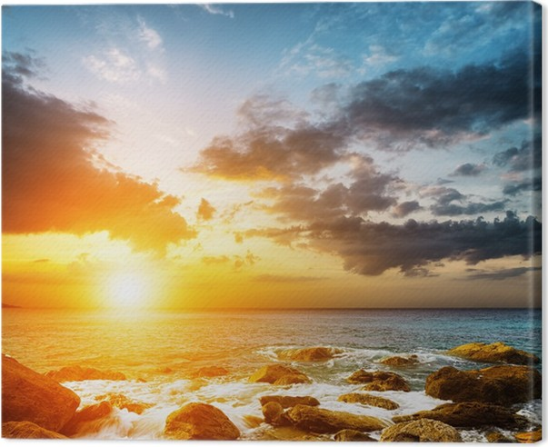 amazing sky over the sea sunset landscape canvas print pixers