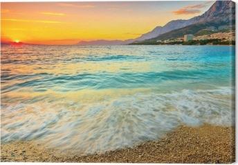 Amazing sunset over the sea,Makarska,Croatia Canvas Print