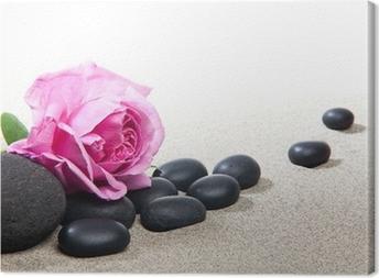Ambiance zen - rose et pierres noires Canvas Print