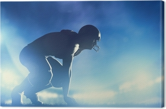 American football players in game. Stadium lights Canvas Print