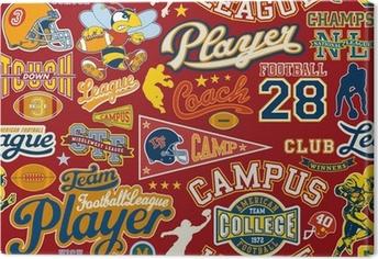 American football seamless vector pattern Canvas Print