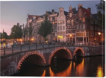 Amsterdam canal at twilight, Netherlands Canvas Print