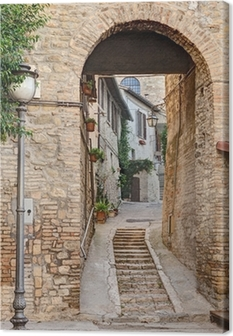 ancient alley in Bevagna, Italy Canvas Print