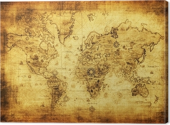ancient map of the world Canvas Print