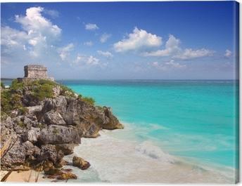 ancient Mayan ruins Tulum Caribbean turquoise Canvas Print