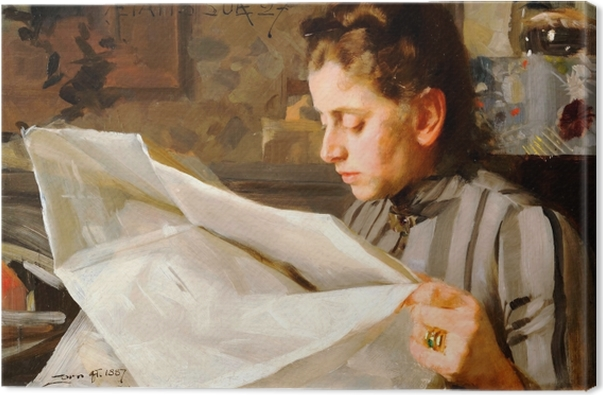 Anders Zorn - A Reading Girl Canvas Print - Reproductions