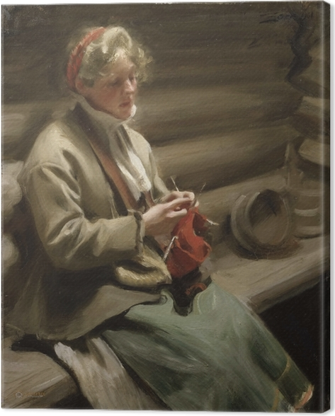 Anders Zorn - Girl from Dalecarlia knitting Canvas Print - Reproductions